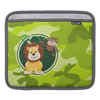 Lion and Monkey; bright green camo, camouflage iPad Sleeves