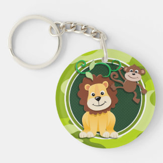 Lion and Monkey; bright green camo, camouflage Double-Sided Round Acrylic Keychain