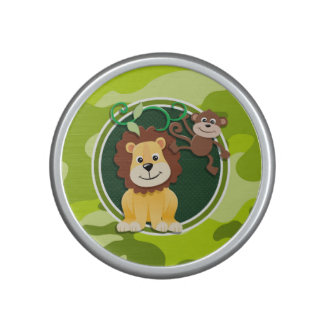 Lion and Monkey; bright green camo, camouflage Speaker