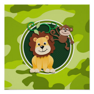 Lion and Monkey bright green camo camouflage Poster