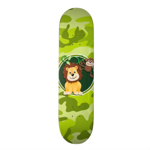Lion and Monkey; bright green camo, camouflage Skate Decks