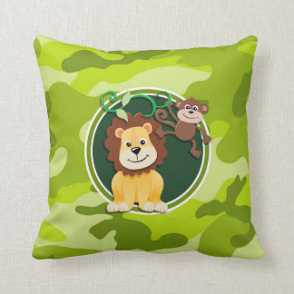 Lion and Monkey; bright green camo, camouflage Throw Pillow