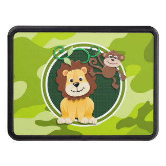 Lion and Monkey; bright green camo, camouflage Hitch Cover