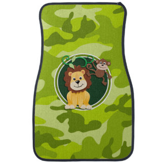 Lion and Monkey; bright green camo, camouflage Floor Mat
