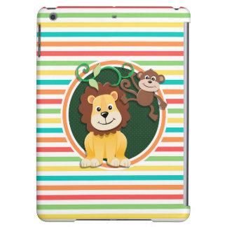 Lion and Monkey; Bright Rainbow Stripes