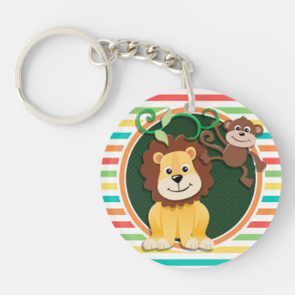 Lion and Monkey Bright Rainbow Stripes Acrylic Keychains