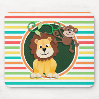 Lion and Monkey; Bright Rainbow Stripes Mouse Pads