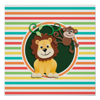 Lion and Monkey Bright Rainbow Stripes Poster