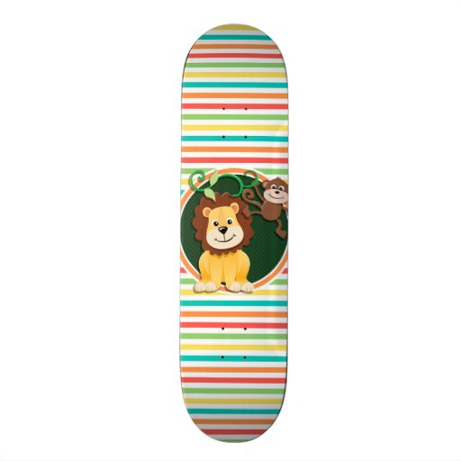 Lion and Monkey; Bright Rainbow Stripes Skate Boards