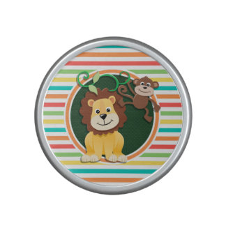 Lion and Monkey; Bright Rainbow Stripes Speaker