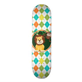 Lion and Monkey on Colorful Argyle Pattern 20 Cm Skateboard Deck