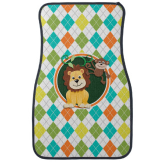Lion and Monkey on Colorful Argyle Pattern Floor Mat