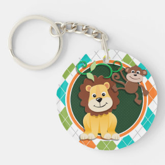 Lion and Monkey on Colorful Argyle Pattern Keychains