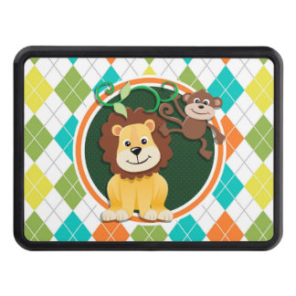 Lion and Monkey on Colorful Argyle Pattern Tow Hitch Cover