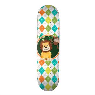 Lion and Monkey on Colourful Argyle Pattern 20 Cm Skateboard Deck