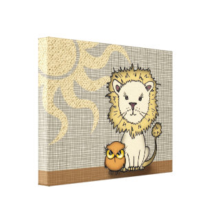 Lion and Owl Nursery Art Print Wrapped Canvas Canvas Prints