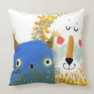 LION AND OWL PAINTING PILLOW THROW CUSHION
