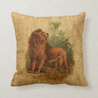 Lion and Palm Trees Vintage Cushion