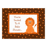Lion and Polka Dots Baby Shower or Birthday Personalized Invitations