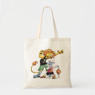 Lion and Sheep Basketball Tote Bag