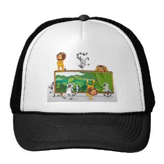 lion and squirrels with board mesh hats