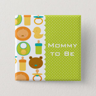 Lion and Teddy Bear Baby Shower Button