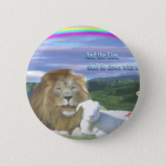 lion and the lamb 6 cm round badge
