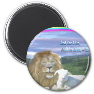 lion and the lamb 6 cm round magnet