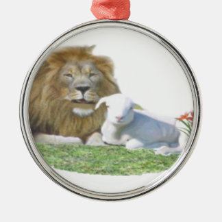 Lion and the Lamb christian art Christmas Ornament