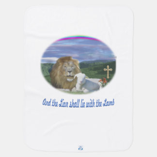 Lion and the lamb christian gifts buggy blankets