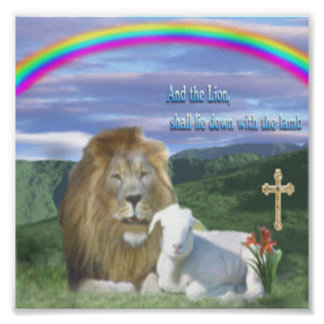 Lion and the Lamb christian poster