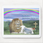 lion and the lamb mousepads
