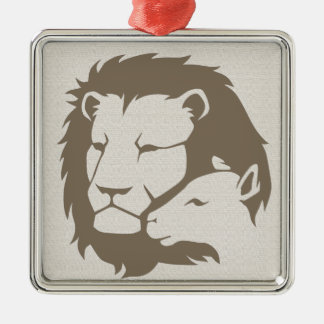 Lion and The Lamb Silver-Colored Square Decoration