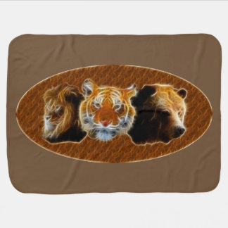 Lion And Tiger And Bear Baby Blanket