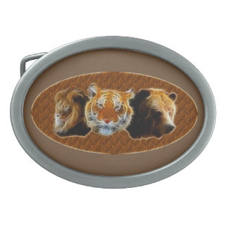 Lion And Tiger And Bear Belt Buckle