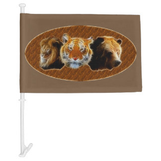Lion And Tiger And Bear Car Flag