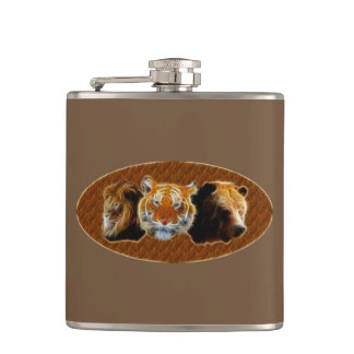 Lion And Tiger And Bear Hip Flask