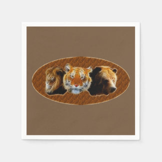 Lion And Tiger And Bear Paper Serviettes