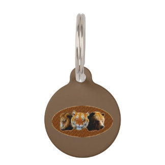 Lion And Tiger And Bear Pet Name Tag