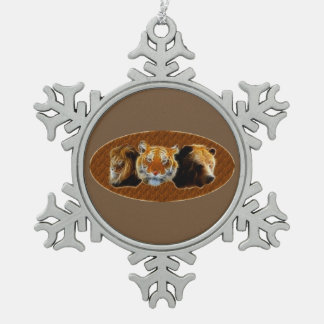 Lion And Tiger And Bear Pewter Snowflake Decoration