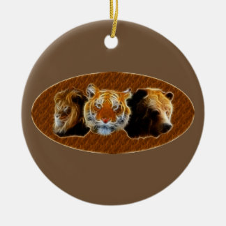 Lion And Tiger And Bear Round Ceramic Decoration