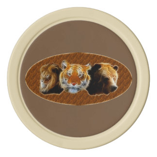 Lion And Tiger And Bear Set Of Poker Chips