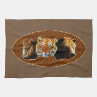 Lion And Tiger And Bear Tea Towel
