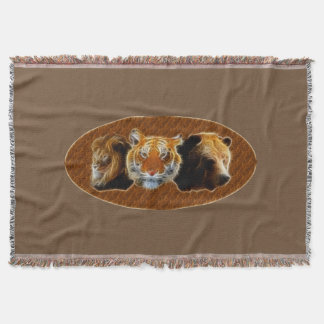 Lion And Tiger And Bear Throw Blanket