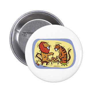 Lion and Tiger Playing Chess 6 Cm Round Badge