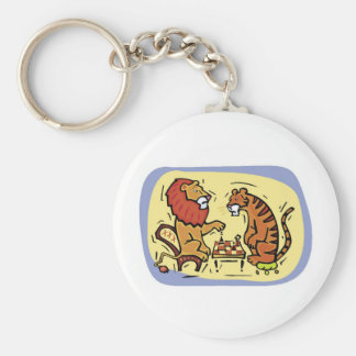 Lion and Tiger Playing Chess Basic Round Button Key Ring