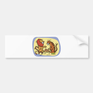 Lion and Tiger Playing Chess Bumper Sticker