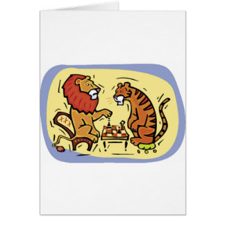 Lion and Tiger Playing Chess Greeting Card