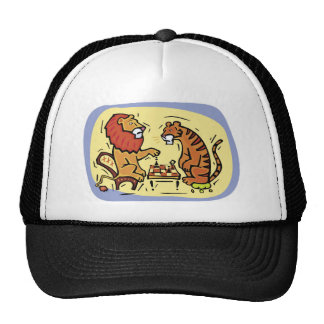 Lion and Tiger Playing Chess Mesh Hats
