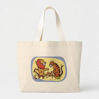 Lion and Tiger Playing Chess Jumbo Tote Bag